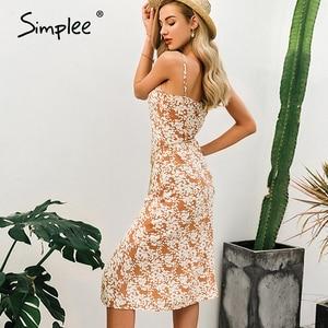 Image 4 - Simplee Sexy spaghetti strap women dress Elegant v neck floral print high split female sundress Summer beach ladies midi dresses