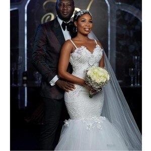 Image 4 - צנוע אפריקאי בתוספת גודל חתונה שמלות 2020 robe דה mariee בת ים חתונת שמלות חרוזים תחרה בעבודת יד כלה שמלה