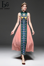 Baogarret Vintage Chinese Style Slim Long Dress Summer New Fashion Embroidery Ankle-Length For Women