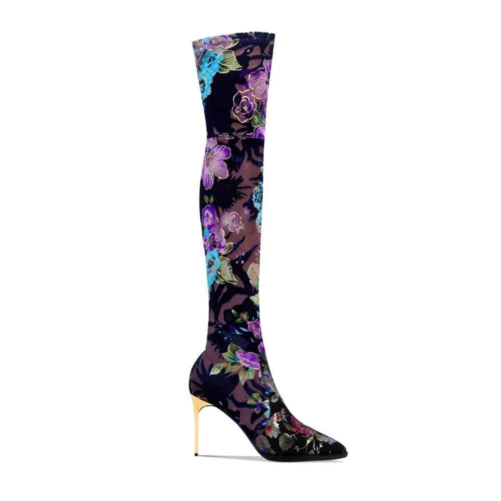 Çiçekler el yapımı koyun sivri burun over-the-diz çizmeler için süper yüksek topuklu çiçek siyah mavi ayakkabı kadın kısa 9cm