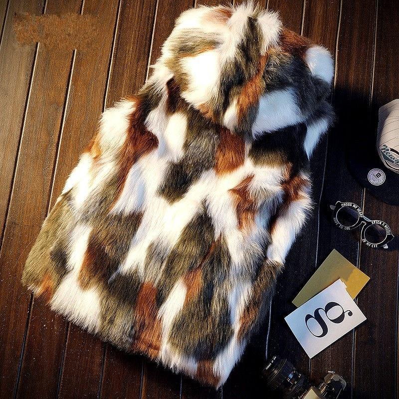 Fashion 2020 Men Faux Fur Vest Winter Camouflage Hooded Zipper Sleeveless Jacket Outerwear Male Casual Slim Warm Waistcoat M-2XL