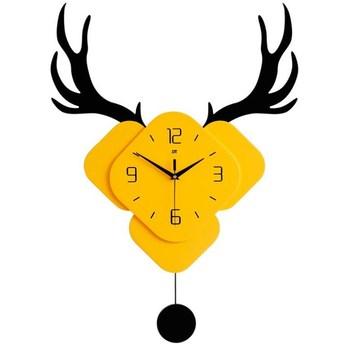 Nordic deer head wall clock creative living room home clock 3D personality modern design simple mute European decorative clock