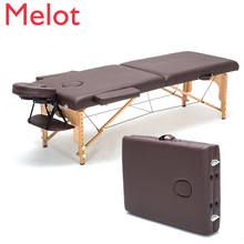 C,60cm width Professional Spa Massage Tables Foldable with Bag& Pillow&armrest Salon Furniture Wooden Folding Beauty Bed