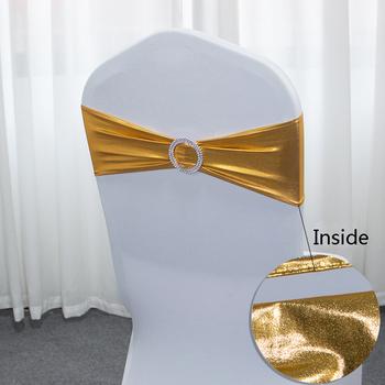 50 sztuk partia metalowe złoto srebrne wstążki na krzesła dekoracja krzesła ślubne elastan opaska na pokrowiec krzesła z okrągła klamra na Party Decor tanie i dobre opinie Plain Dyed Hotel Wedding BANQUET Jednorazowe 15cm*36cm Chair Bnads 100 Polyester