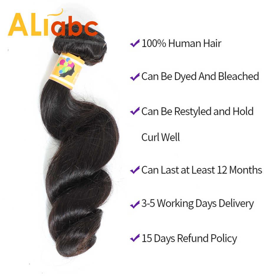 Aliabc свободные волнистые в наборе с бразильские волосы с закрытием переплетения пучки с закрытием человеческие волосы пучки с закрытием наращивание волос
