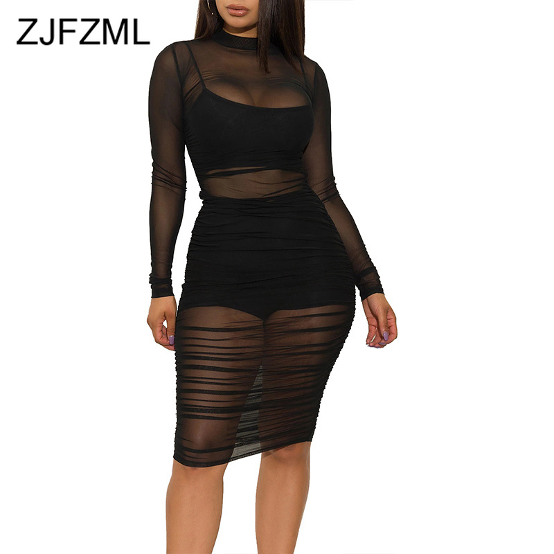 Sexy Transparent 3 Piece Set Women Turtleneck Long Sleeve Ruched Mesh Dress + Straped Crop Top + Bodycon Shorts Club Outfits