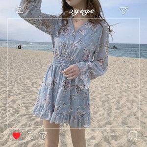 Image 4 - חמוד מיני שמלות המפלגה תאריך ללבוש אישה ארוך שרוול קוריאה יפן פרע מתוק בנות קטן פרחוני שיפון שמלת 8503