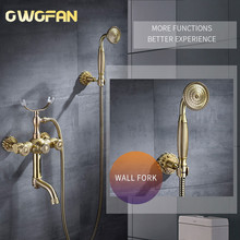 Bathtub Faucets Luxury Gold Brass Bathroom Faucet Mixer Tap Wall Mounted Hand Held Shower Head Kit Shower Faucet Sets 88313 ledeme 1 set classic bathtub faucets single handle brass bath faucet mixer tap shower head kit bathtub shower faucet sets l3184