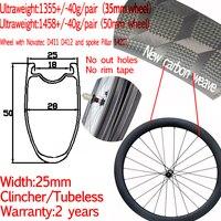 Super light width 25mm carbon road bike disc clincher wheel 35/38/50mm new carbon weave tubeless cyclocross wheelset pillar 1420