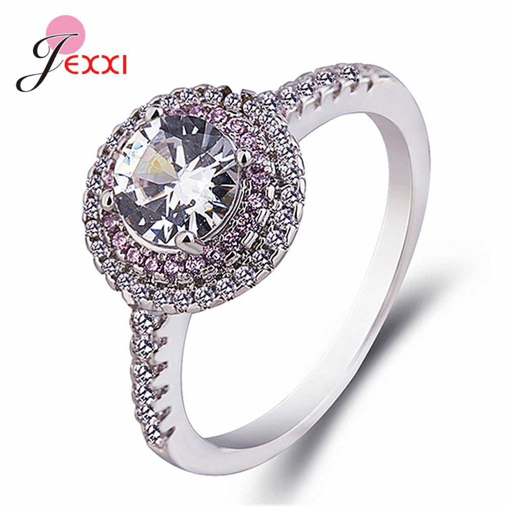 Classic Style Luxury AAA Grade Crystal Rings For Women Genuine 925 Sterling Silver Rings Fashion Jewelry For Wedding Engangement