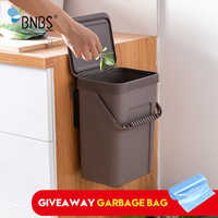 BNBS Trash Can Kitchen Wall Mounted Garbage Bin Gift Garbage Bag Zero Waste Recycle Compost Bin Trash Bathroom Dustbin