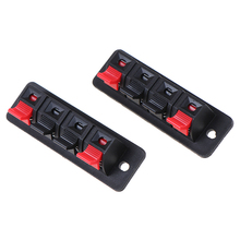 2Pcs Plastic 4 Positions Connector Terminal Push In Jack Spring Load Audio Speaker Terminals Breadboard Clips
