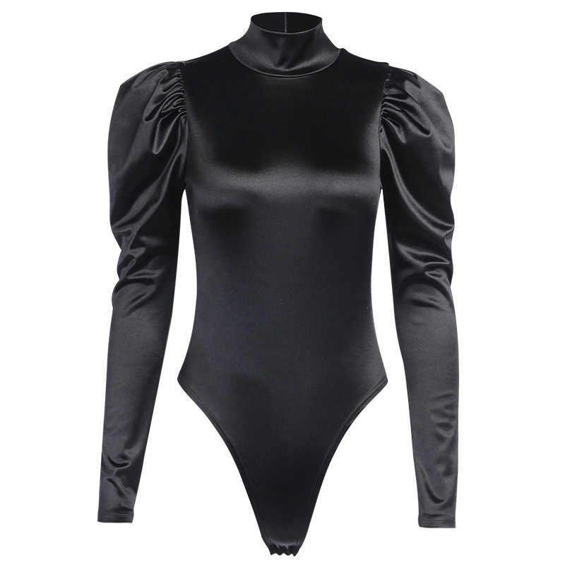 InstaHot czarne seksowne body Slim bufiaste rękawy z golfem z długim rękawem jesień Playsuit do klubu na imprezę Casual Satin body Streetwear