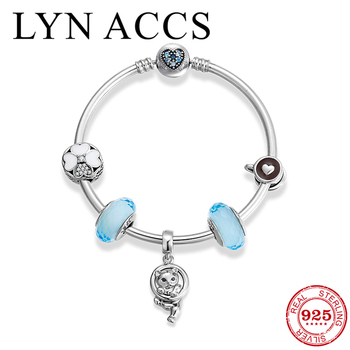 Fashion 925 Sterling Silver Charm Bracelet Cat Pendant CZ Coffee cup Glass Bead Bangles Women Jewelry Gift Wholesale Top Quality
