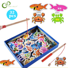 Educational-Toys-Set Fishing-Toy Wooden Magnetic Baby Outdoor Kids Children Gift 32pcs