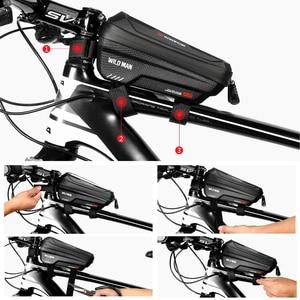 Image 5 - WILD MAN New Bike Bag Frame Front Top Tube borsa da ciclismo custodia per telefono impermeabile da 6,6 pollici borsa Touchscreen pacchetto MTB accessori per biciclette