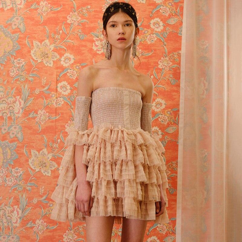 Mignon femmes robe de bal rose 2019 Sexy hors de l'épaule Flare manches maille gâteau Mini robe robes de soirée