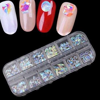 Conjunto de 12 la piedra de cristal de alta calidad para uñas de gel de resina de diamantes de imitación con Varios tamaños fundas a color conjunto de diamantes de imitación de partes