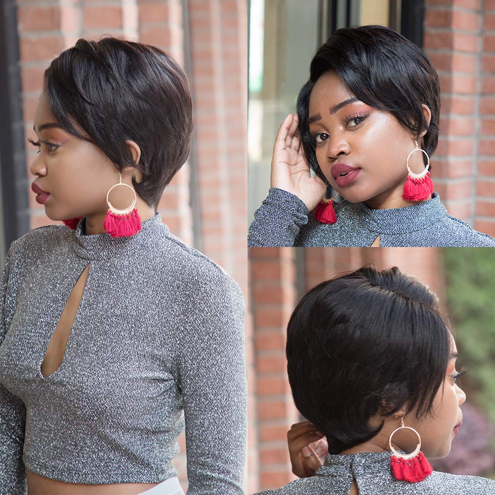 Pixie Cut Human Hair Wig With Bangs Short Black Wig Lace Front Human Hair Wigs Fake Scalp Remy Wig Bob Hair Wig Free Shipping