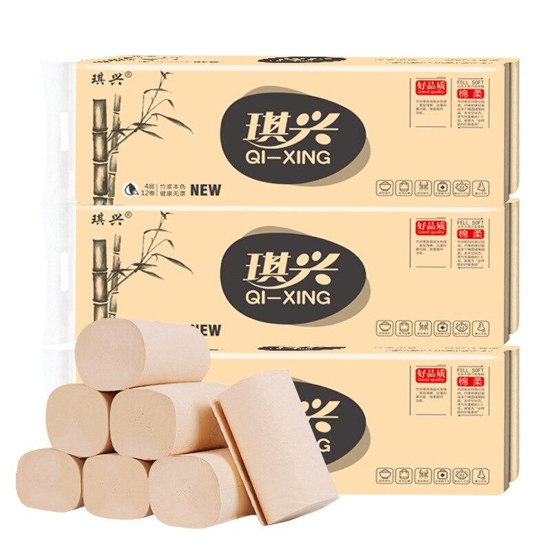 12 Rolls/pack  Paper Original Color Towel Paper Bamboo Fiber Toilet Paper Bamboo Pulp Toilet Paper Household Paper Office Paper