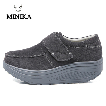 Couple Wedge Sneakers Hook & Loop Women Rocking Shoes Thick Sole Slimming Shoes Men Fitness Walking Toning Shoes Size 35-45 4 5 cm height toning shoes for women fitness walking slimming workout sneakers wedge platform air swing shoes for female
