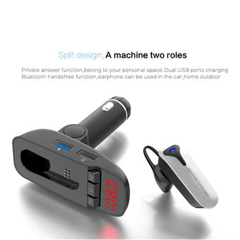 ER9 car Bluetooth kit handsfree FM transmitter wireless Bluetooth headset can detect battery voltage car charger with headphones 3