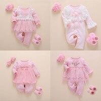 Neugeborenen Baby Mädchen Kleidung Herbst Baumwolle Spitze Prinzessin Stil Baby Overall 0-3 Monate Säuglingsspielanzug Mit Socken Stirnband ropa bebe