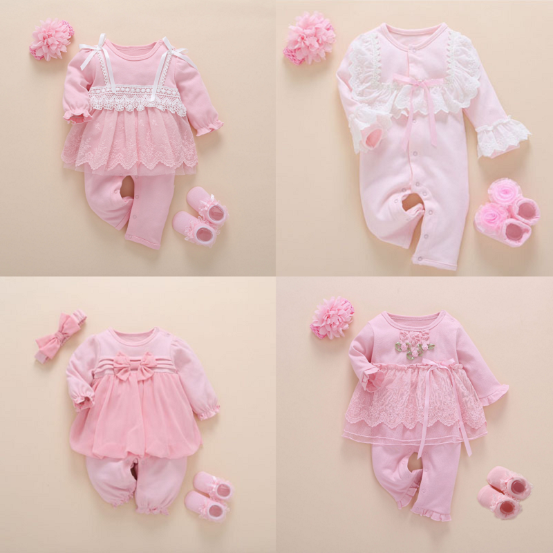 Newborn Baby Girl Clothes Fall Cotton Lace Princess Style Baby Jumpsuit 0 3 Months Infant Romper With Socks Headband ropa bebeRompers   -