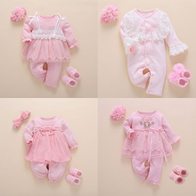 Newborn Baby Girl Clothes Fall Cotton Lace Princess Style Baby Jumpsuit 0 3 Months Infant Romper With Socks Headband ropa bebe