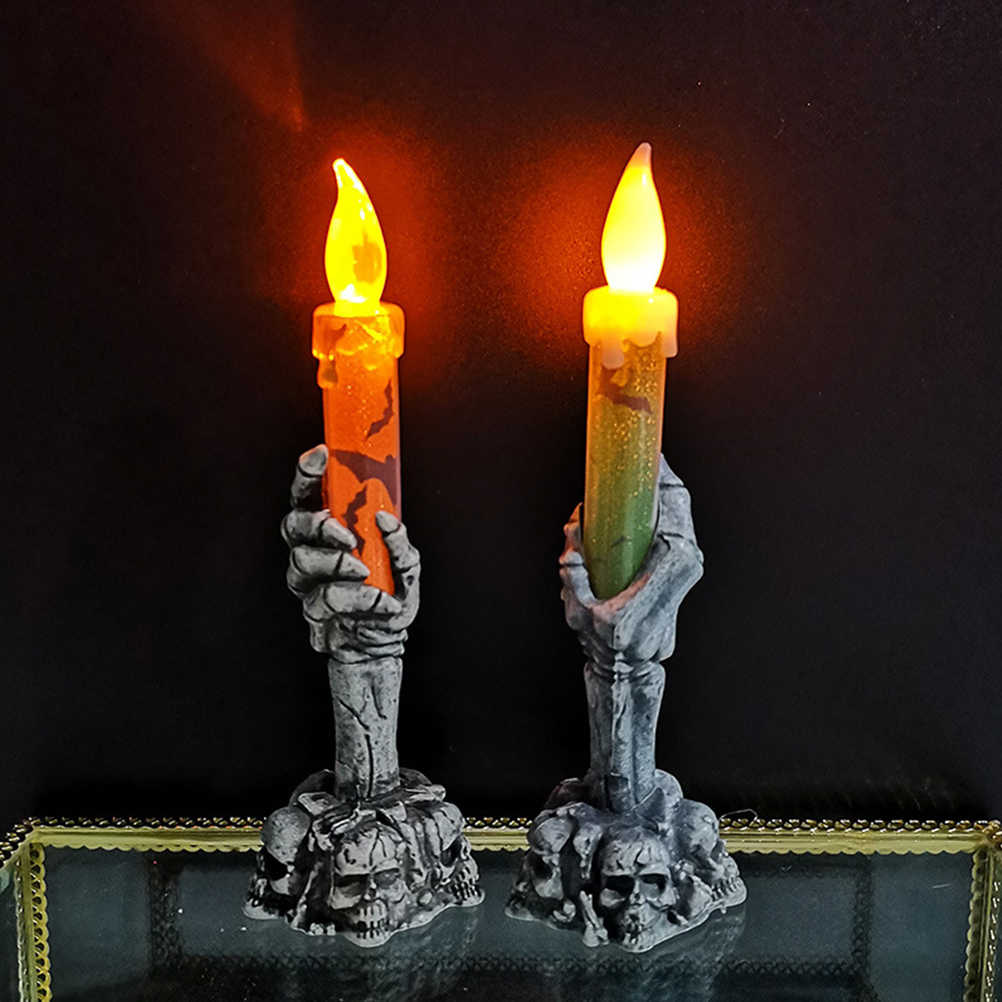 2Pcs Halloween Horror Skeleton Handheld LED Candle Light Decoration Haunted House Skeletons  Home Party Bar Decoration