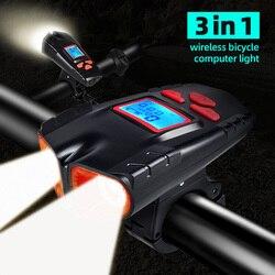 3 Di 1 Nirkabel Komputer Sepeda Lampu IP6 Tahan Air Lampu Sepeda 2000 MAh 500 Lumen Sepeda Senter dengan Tanduk Sepeda lampu