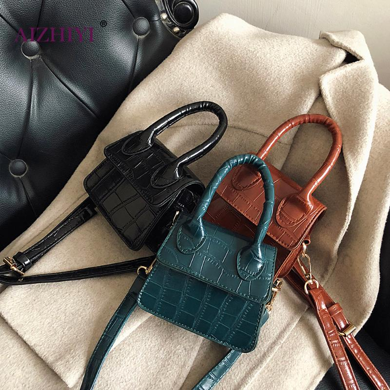 Women Mini Tote Bag 2020 New Crocodile Pattern Flap Messenger Crossbody Bag Female Simple Shoulder Bag Small Square Lady Handbag