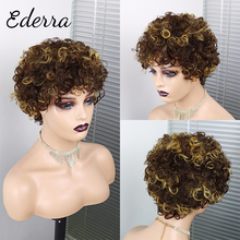Short Pixie Cut Wig Cheap Curly Human Hair Wig Pre Plucked Water Wave Brazilian Black Color Wigs for Women Pretty