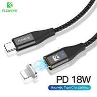 Floveme tipo c ao cabo de iluminação pd 18 w magnético cabo de carregamento rápido para iphone 11 xr xs x 8 ipad usb tipo de dados c carregador rápido