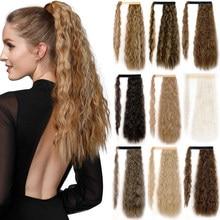 LISI HAIR Orn ondulato lungo coda di cavallo sintetico Hairpiece Wrap On Clip estensioni dei capelli Ombre marrone coda di cavallo capelli biondi Fack