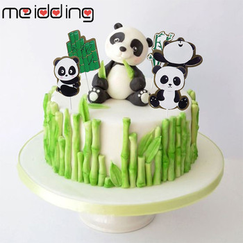 MEIDDING Panda Cake Toppers Bamboo Turtle Leaf Decoration Happy Birthday For Children's Day Party Supplies Baking Cute Gifts ланчбокс panda happy every day grey
