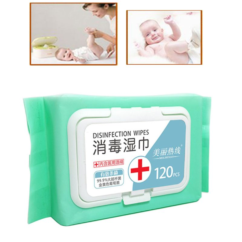 120 Sheets Hand Cleansing Wet Wipes Alcohol Disposable Sanitizing Tissue