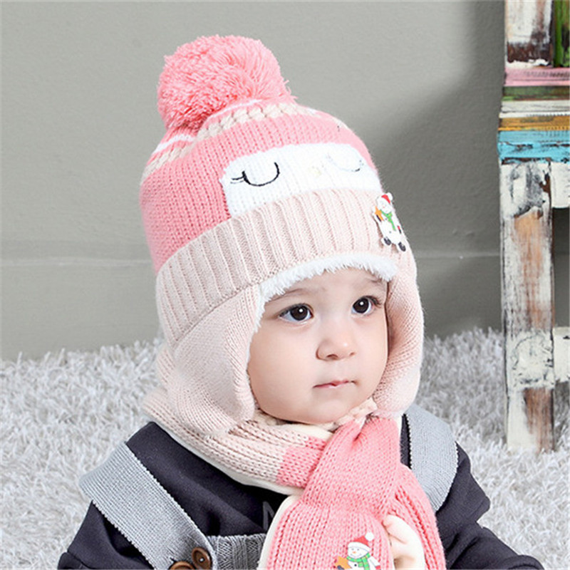 Children's Winter Hat Scarf Two-piece Set Warm Plus Velvet Protect Ears Hats Knitted Crochet Beanie Neckerchief Christmas Gift