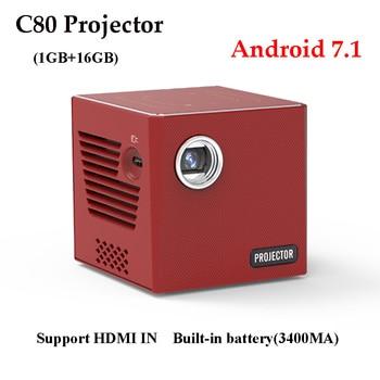 NEW c80 mini protable projector RK3128 Quad-core 1GB16GB 2.4G+5G Wifi android 7.1 bluetooth HDMI USB home cinema  projector mini projector dl s9 portable dlp wifi bluetooth projector dlna android4 4 os battery home cinema