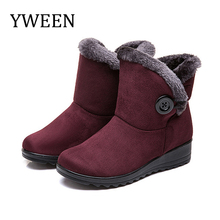 Купить с кэшбэком YWEEN Women Boots Winter Warm Snow Boots Women Suede Mid-Calf Boots For Female Winter Shoes Botas Mujer Plush Booties Woman