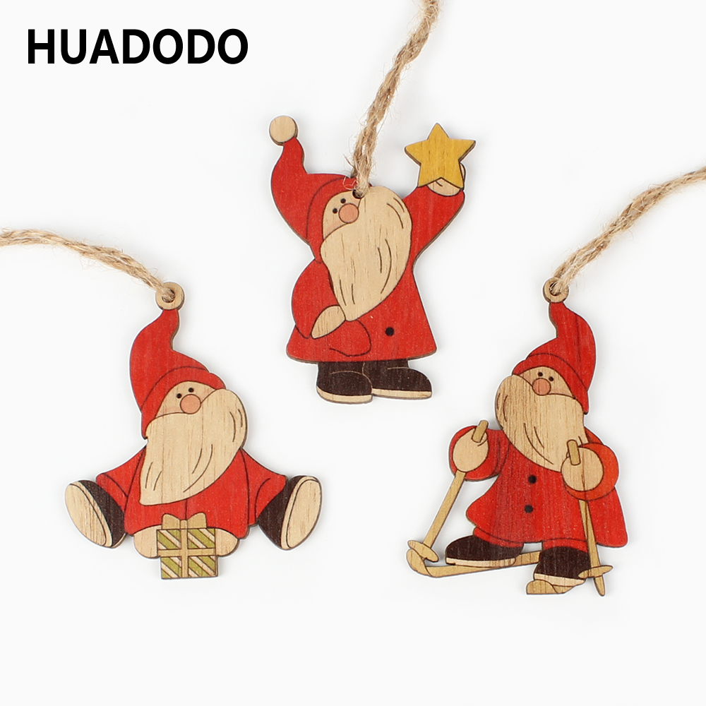 HUADODO 3Pcs Santa Claus Christmas Pendants Ornaments Wooden Craft For Christmas Tree Hanging Party Decoration Kids Toys