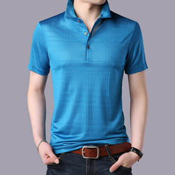 Fashion Brand Clothes Mens Silk Short Sleeve Slim Fit Polo Shirt Men Summer Business Plaid High Quality Casual Polos For Male