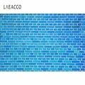 Laeacco сплошной цвет синий кирпичная стена фото фон Декор модель ребенок портрет виниловый Фотофон студийный фон