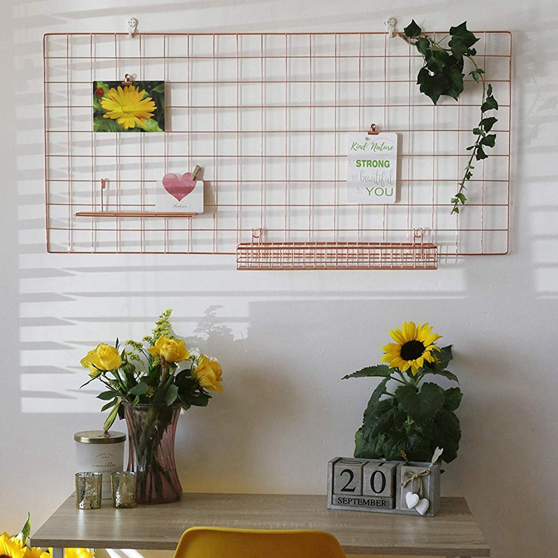 Botique-Rose Gold Grid Wall Basket Wire Wall Shelf For Grid Panel Easy Hanging Tray For Cute Things On Your Grid Wall Storage Di