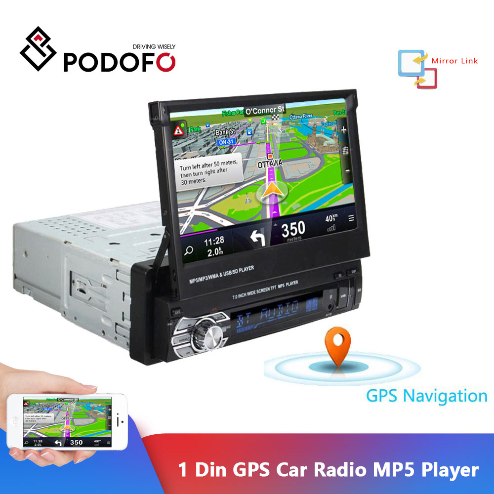 Podofo 1 Din Car Radio GPS Navigation 7 Retractable Screen MP5 Player Bluetooth Stereo Mirror Link Autoradio Cassette Recorder image