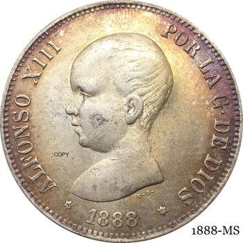 Escudo de Armas español coronado con pilares, moneda de copia chapada en...