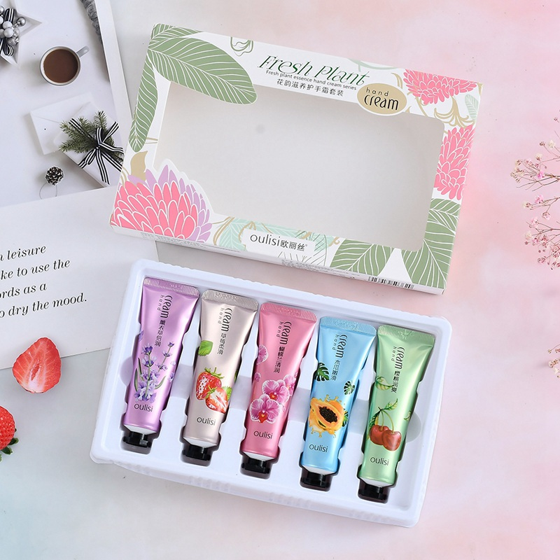 Hydrating Brighten Skin Color Lasting Smooth Fine Lines Hand Cream Kit Plant Extract Floral Hand Cream Set