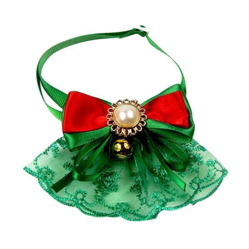 Boże narodzenie zwierzęta mucha dla psa krawaty zwierzęta domowe są Retro koronkowa muszka regulowany obroża dla szczenięcia i kota z dzwoneczkami boże narodzenie odzież Halloween akcesoria