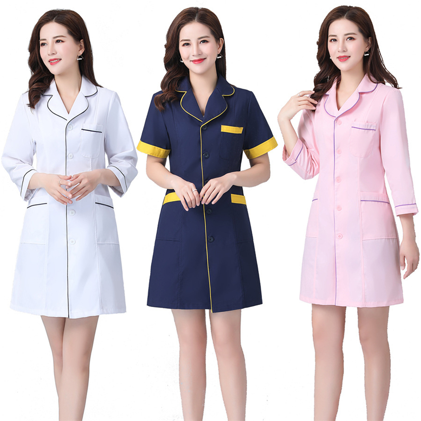 Woman Hospital Medical Nurse Uniform Short&Long Beauty Salon Surgical Pharmacy Lab Coat Clinic Slim Gown Spa Scrubs Overalls