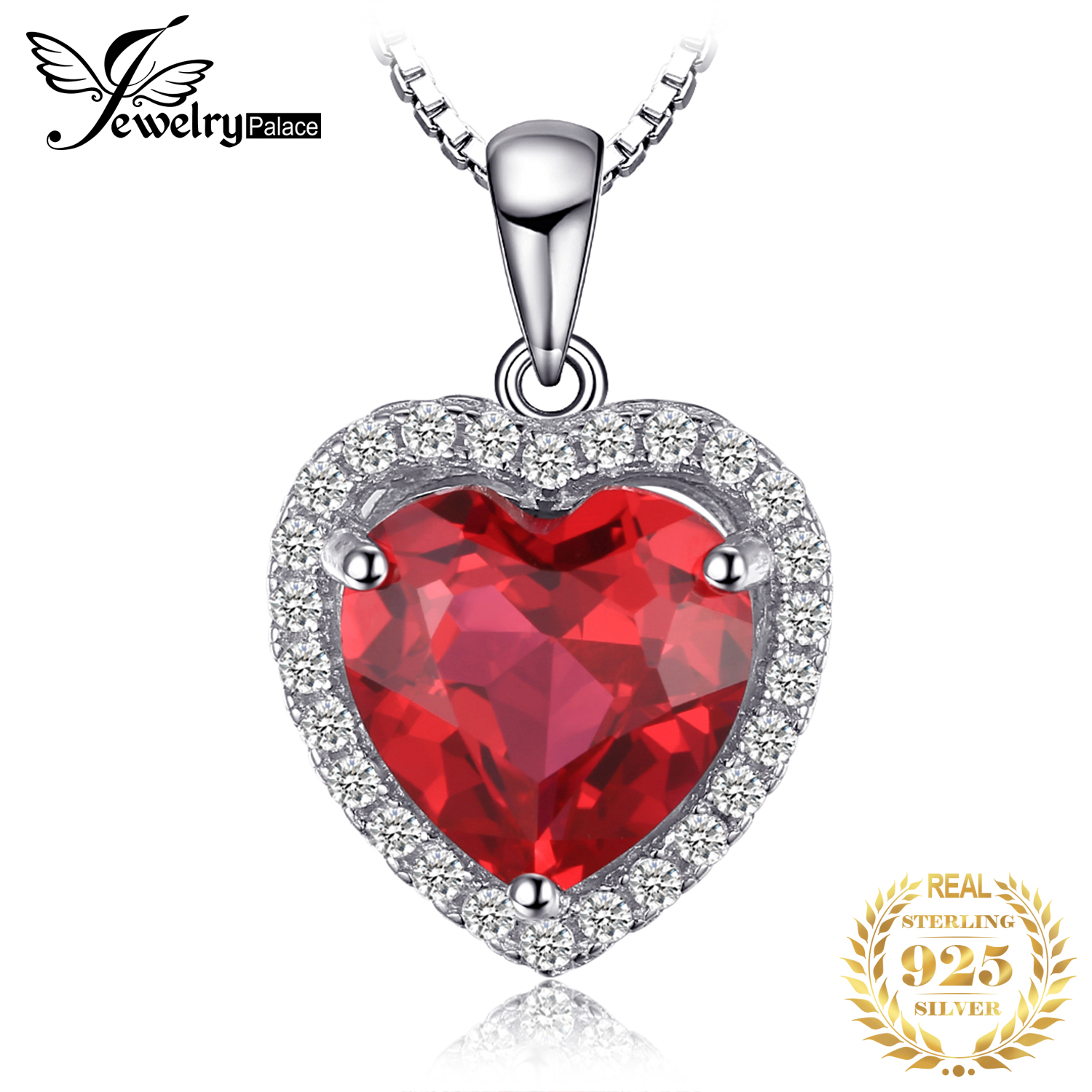 JPalace Heart Created Red Ruby Pendant Necklace 925 Sterling Silver Gemstones Choker Statement Necklace Women Without Chain